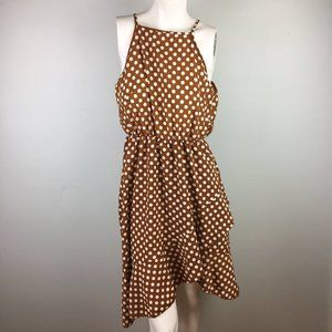 Rust Orange Polka Dot Ruffle Sun Dress Cotton EUC